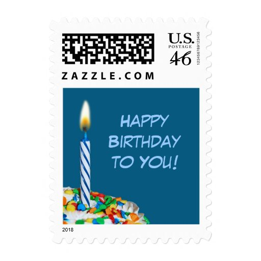 Happy Birthday to You Postage Stamp - Blue