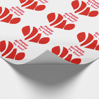 Happy birthday to you, red hearts, gift wrap. wrapping paper