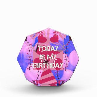 Happy Birthday Today is my Birthday Blue Balloons Acrylic Award
