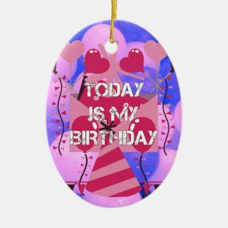 Happy Birthday Today is my Birthday Blue Balloons Ceramic Ornament