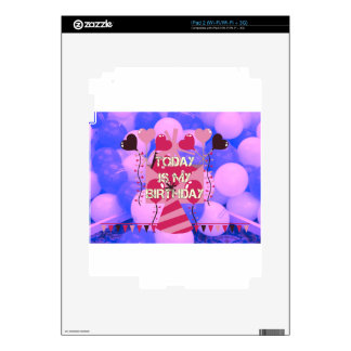 Happy Birthday Today is my Birthday Blue Balloons Decal For The iPad 2