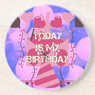 Happy Birthday Today is my Birthday Blue Balloons Drink Coaster