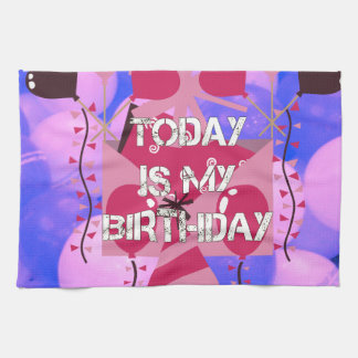 Happy Birthday Today is my Birthday Blue Balloons Hand Towels