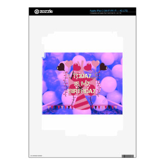 Happy Birthday Today is my Birthday Blue Balloons iPad 3 Decal