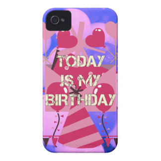 Happy Birthday Today is my Birthday Blue Balloons iPhone 4 Cases