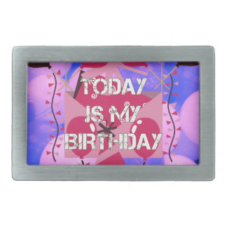Happy Birthday Today is my Birthday Blue Balloons Rectangular Belt Buckle