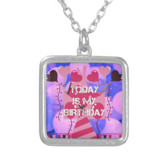 Happy Birthday Today is my Birthday Blue Balloons Silver Plated Necklace