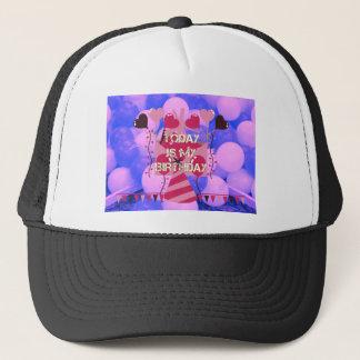 Happy Birthday Today is my Birthday Blue Balloons Trucker Hat