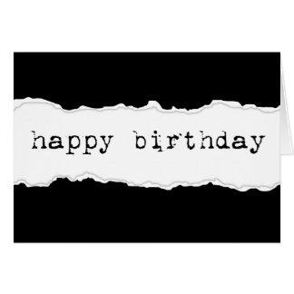 happy birthday (torn paper) card