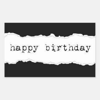 happy birthday (torn paper) rectangular sticker