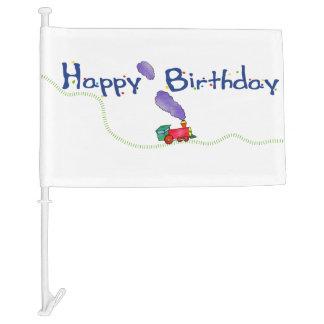 Happy Birthday Train Car Flag