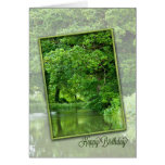 Happy birthday, tranquil river scene greeting cards