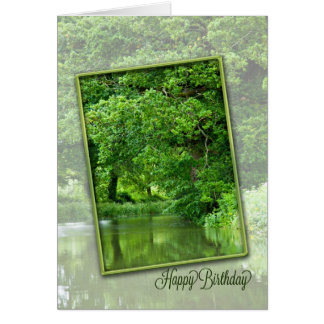 Happy birthday, tranquil river scene card
