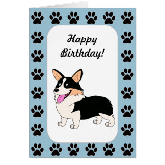 Happy Birthday Tricolor Corgi Card