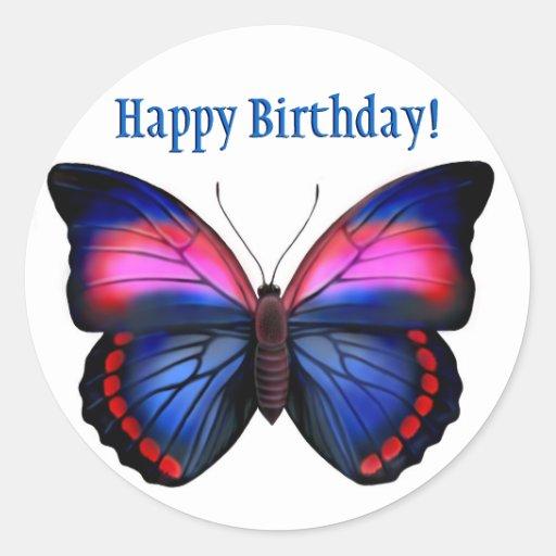Happy Birthday Tropical Butterfly Sticker