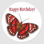 Happy Birthday Tropical Cherry Red Butterfly Classic Round Sticker