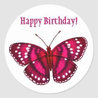 Happy Birthday Tropical Magenta Pink Butterfly Classic Round Sticker