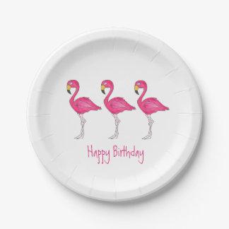 Happy Birthday Tropical Pink Flamingo Bird Plates