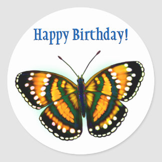 Happy Birthday Tropical Sunshine Yellow Butterfly Classic Round Sticker