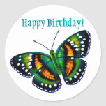Happy Birthday Tropical Teal Green Butterfly Stickers