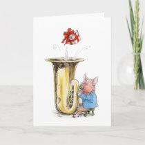 Happy Birthday tuba-blowing pig card