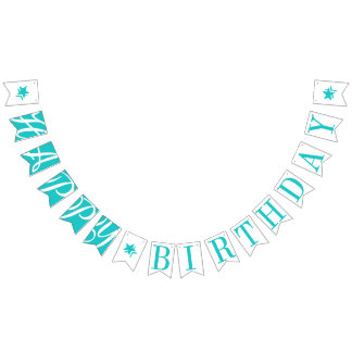 HAPPY BIRTHDAY Turquoise And White Bunting Flags