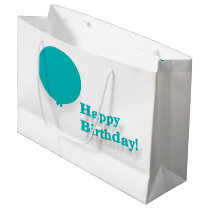 Happy Birthday Turquoise Balloon Large Gift Bag