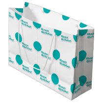 Happy Birthday Turquoise Balloons Large Gift Bag