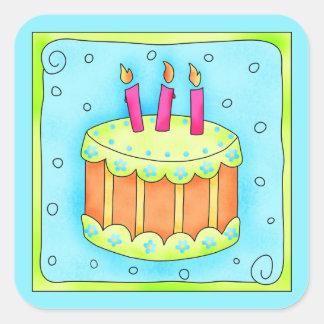 Happy Birthday Turquoise Cake Sticker Third