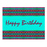 Happy Birthday turquoise red Post Card