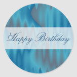 Happy Birthday turquoise satin Classic Round Sticker