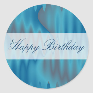 Happy Birthday turquoise satin Classic Round Sticker
