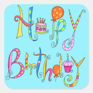 Happy Birthday Turquoise  Sticker