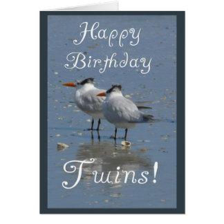 Happy Birthday Twins-Identical Seabirds on a Beach Card