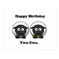 Happy Birthday Two Ewe To You Cartoon Postcard