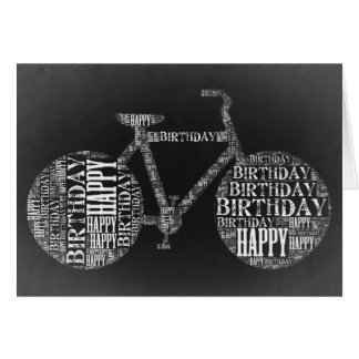 Happy Birthday Typography Bicycle Card (Blank)