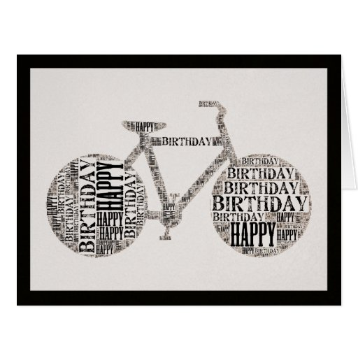 Happy Birthday Typography Bicycle Greeting Card