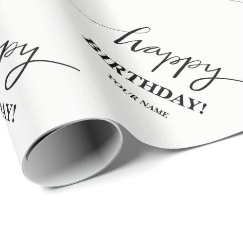 Happy Birthday typography custom wrapping paper