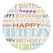 Happy Birthday Typography Round Stickers (Small)