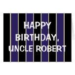 Happy Birthday Uncle BP Stripes Greeting Card