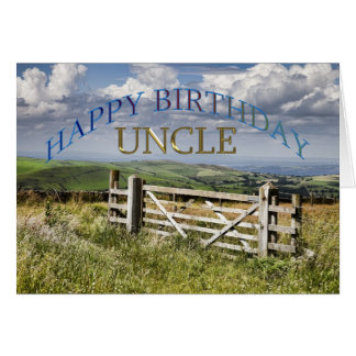 Happy Birthday Uncle, landscape with a gate Card