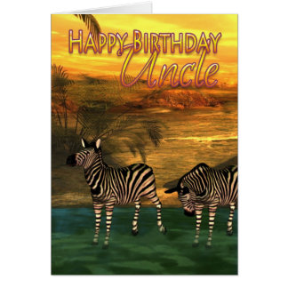 Happy Birthday Uncle Zebras In Water Card