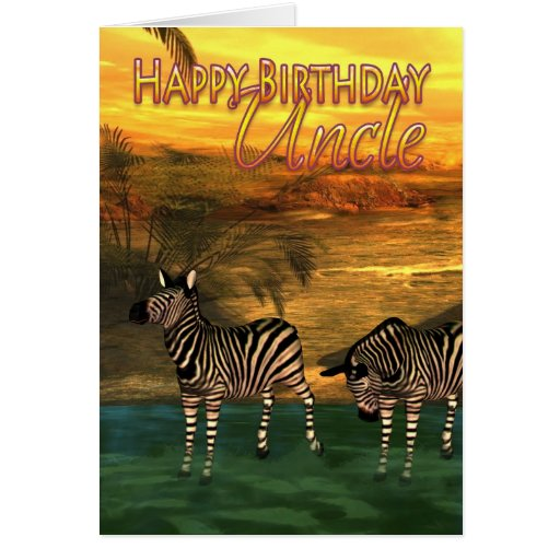 Happy Birthday Uncle Zebras In Water Greeting Card