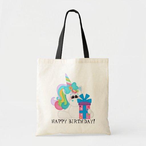 Happy Birthday Unicorn kids tote bag