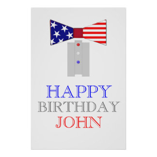 Happy Birthday USA Flag Bow Tie Poster