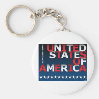 Happy Birthday USA Keychain