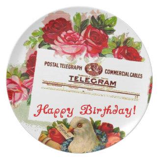 Happy Birthday Victorian Dove Roses Gift Plastic Melamine Plate