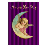 Happy Birthday - Vintage angel on a crescent moon Greeting Card