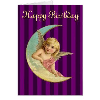 Happy Birthday - Vintage angel on a crescent moon Card