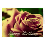 Happy Birthday Vintage Antique Rose Flower Card